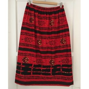 Vintage Red and Black Snake Abstract Skirt
